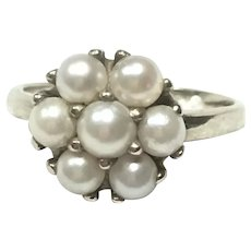 Vintage 14 kt white gold Akoya cultured pearl ring