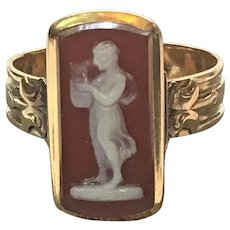 Victorian 14 kt gold agate cameo ring in rose gold