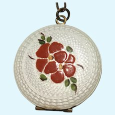 Vintage Guilloche enamel with hand painted roses locket
