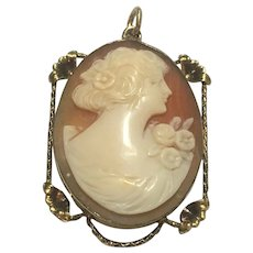 Vintage hand carved shell cameo locket pendant