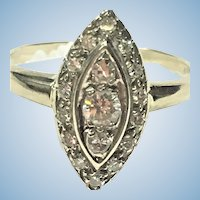 Vintage 14 karat white gold and diamond cocktail marquise shaped ring