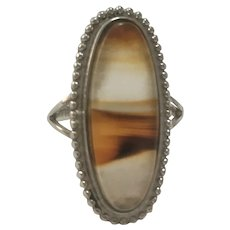 Vintage Native American signed agate and sterling ring
