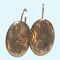 Vintage hand engraved earrings of rolled gold