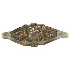 Vintage 14 karat and diamond engagement ring circa 1945