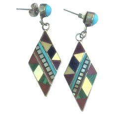Vintage Zuni Native American inlay earring in sterling