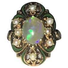 Vintage Art Nouveau opal enamel and pearl 14 karat gold ring
