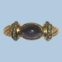 Vintage 14 karat yellow and white gold iolite ring