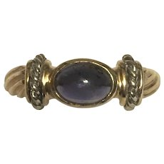 Vintage 14 karat yellow and white gold iolite ring