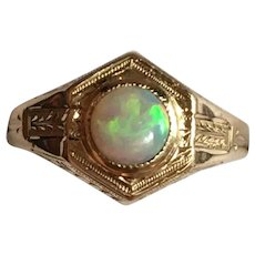 Victorian revival hand engraved opal pinky ring 14 karat gold