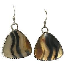 Vintage Native American Sterling silver Montana Agate earrings, signed