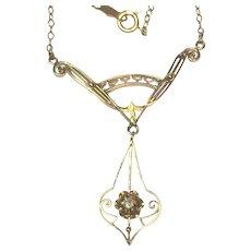 Victorian Lavaliere 14 karat gold necklace with European cut diamond