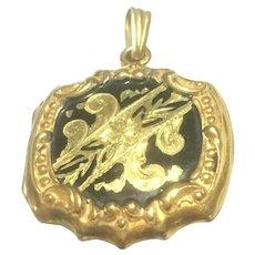 Vintage Victorian revival rolled gold and black enamel locket