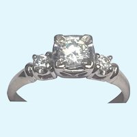 Vintage 14 karat white gold diamond ring circa 1950