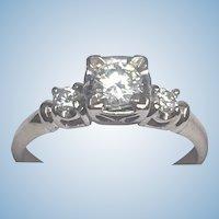 Vintage 14 karat white gold diamond ring circa 1950