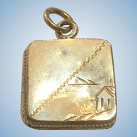 Victorian revival hand engraved square mourning locket