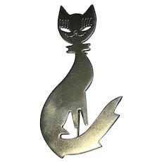 Vintage Hand made Cat pin sterling silver