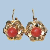Vintage Victorian revival red coral 14 karat gold earrings