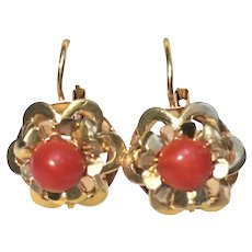 Vintage Victorian revival red coral 14 karat gold earrings