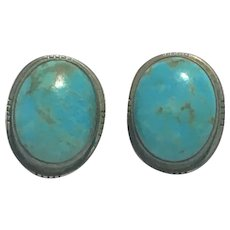 Vintage T.Skeets Navajo Turquoise and sterling earrings