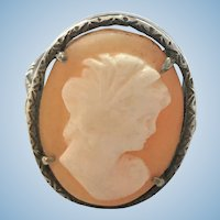 Edwardian 800 silver hand carved shell cameo ring