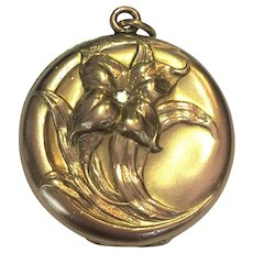 Vintage  Wightman and Hugh Art Nouveau flower and diamond locket