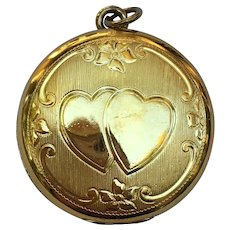 Vintage double heart gold plate locket