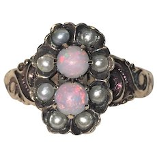 Antique Victorian 10 Karat gold opal and seed pearl ring