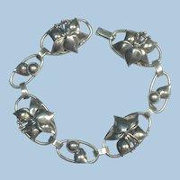 Vintage Arts and crafts sterling silver handmade flower bracelet