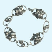 Vintage Arts and crafts sterling silver handmade flower bracelet