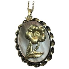 Vintage Vermeil abalone and rose locket with chain