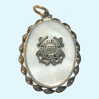 Vintage United States Coast Guard mother of pearl vermeil locket