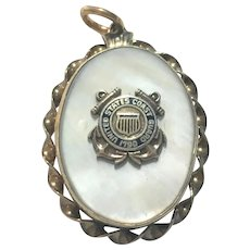 Vintage United States Coast Guard mother of pearl fronted vermeil locket