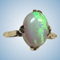 Vintage 18 karat gold one of a kind opal and ruby ring