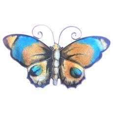 Vintage David Andersen Sterling and enamel Butterfly brooch 2 1/4 inch