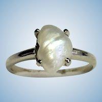 Vintage 14 karat Mississippi freshwater natural pearl ring