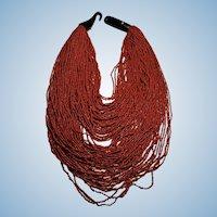 Vintage Natural red coral bead bib necklace 70 strands