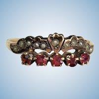 Victorian 14 karat rose gold seed pearl and garnet ring