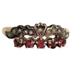 Victorian 14 karat rose gold seed pearl and garnet ring