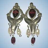 Vintage Sterling Silver garnet and pearl earrings
