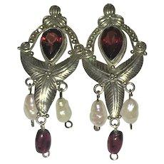 Vintage Sterling Silver garnet and pearl earrings