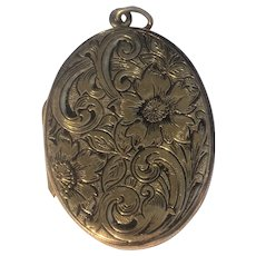Victorian intricately hand engraved locket by JM & CO