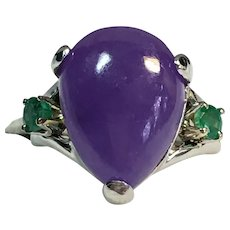 Custom Grape Chalcedony and emerald ring in sterling and gold