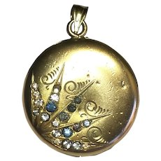 Vintage 14 karat gold locket with rhinestones