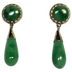 Vintage Jadeite Jade earring drops in 14 karat gold
