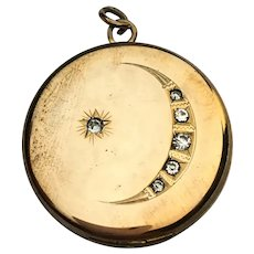 Victorian crescent moon locket with paste stones
