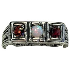 Victorian garnet and opal hand engraved ring in sterling silver