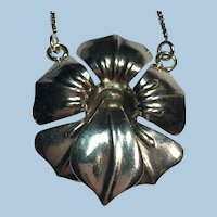 Art Nouveau stylized sterling silver flower necklace