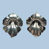 Vintage Art Nouveau stylized flower earrings in sterling silver