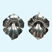 Vintage Art Nouveau stylized flower earrings in sterling silver