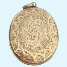 Victorian hand engraved rose gold plate locket